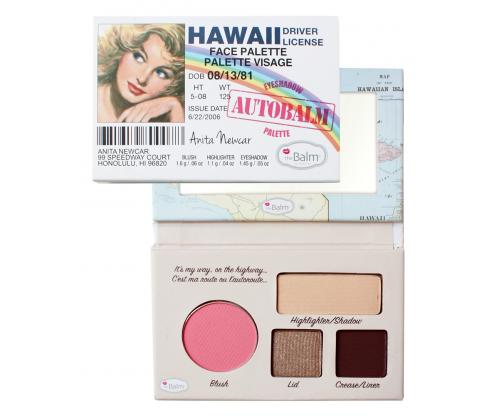 THE BALM Палетка теней / AutoBalm - HawaiiРумяна<br>Палетка теней AutoBalm- Hawaii. Компактная палетка для макияжа. Оформление   водительское удостоверение (DRIVER LICENSE). Зеркальце в комплекте  встроено  в карту штатов Гаваи (Hawaii) или Калифорнии (California). Очень условно палетки подобраны для девушек с голубыми (California) и с карими (Hawaii) глазами (см. изображение девушек на упаковке). Палетка включает: 1 румяна, 2 оттенка теней для век, 1 хайлайтер.<br>