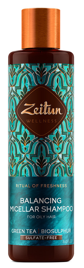 Купить ZEITUN Шампунь мицеллярный балансирующий с зеленым чаем и био-серой для жирных волос Ритуал свежести 250 мл