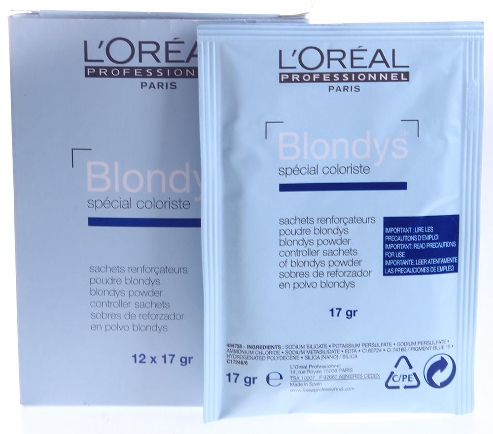 LOREAL PROFESSIONNEL Порошок-усилитель / БЛОНДИС 1*17грПудры<br>Высокая степень нейтрализации, мягкое воздействие на волосы, облегчающее последующее окрашивание. Подходит только для натуральных волос (начиная от 3 базы). Стойкий результат. Не покрывает седину. Осветление - oт 2 до 6 тонов. Время выдержки - oт 20 до 50 минут в зависимости от желаемого результата.  Применение:  120 мл крем-оксидента 6% (20 волюм) или 9% (30 волюм)  1, 2 или 3 пакетика порошка-усилителя.  60 мл геля Блондис.  В шейкере тщательно взбалтывать 8-10 секунд, придерживая крышку, или смешать в неметаллической ёмкости до получения однородной массы.  Как правильно наносить смесь:  Использовать вместе с пакетиками порошка-усилителя Блондис.  Наносить кисточкой на сухие невымытые волосы пробор за пробором.  Использовать полностью приготовленную смесь. Эмульгировать. Промыть шампунем Оптимальный Платино.<br><br>Тип: порошок<br>Цвет: Блонд<br>Вид средства для волос: Стойкая