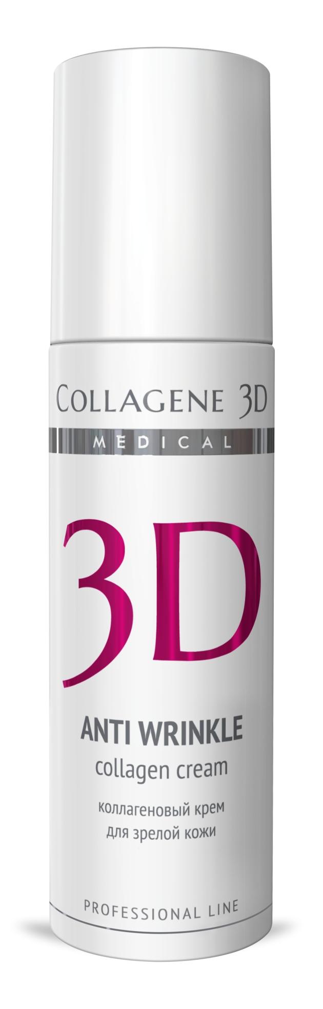 MEDICAL COLLAGENE 3D Крем с коллагеном и плацентолью для лица Anti Wrinkle 150мл проф.Кремы<br>Благодаря богатому комплексу активных ингредиентов крема уменьшается выраженность глубоких морщин, восполняется дефицит биологически активных веществ и стимулируется обновление кожи. Нативный коллаген, экстракт плаценты и гиалуроновая кислота способствуют омоложению, натуральные масла оливы и персика питают, увлажняют, обеспечивают естественную защиту, витамины А и Е   мощные антиоксиданты. Активные ингредиенты: нативный трехспиральный коллаген, экстракт плаценты, гиалуроновая кислота, масло оливы, персиковое масло, пантенол, витамин А, витамин Е. Способ применения: нанести тонким слоем на предварительно очищенную кожу лица, шеи и область декольте. Кремы рекомендуются как для экспресс-процедур, так и для курсового применения. Курсовое применение: 8-10 процедур. Проводить по 1 процедуре ежедневно или через день. Поддерживающие процедуры следует проводить 1 раз в неделю.<br><br>Назначение: Морщины