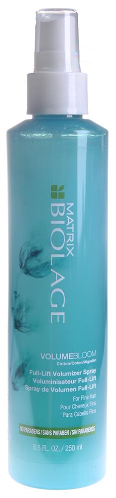MATRIX Спрей для объема тонких волос / БИОЛАЖ ВОЛЬЮМБЛУМ 250млСпреи<br>Тонким волосам не хватает объема, они могут трудно поддаваться укладке. Вдохновленный способностью цветка хлопка увеличиваться в объеме и сохранять мягкость, несмываемый спрей Биолаж ВольюмБлум приподнимает тонкие волосы, обеспечивая длительный, упругий объем*. Придает объем, увеличивая межклеточное пространство волоса, для создания прически, которая не потеряет форму. Увеличивает жизненную энергию, подчеркивает движение волос. *При использовании в системе с шампунем, кондиционером, несмываемым спреем Вольюмблум по сравнению с волосами до мытья. Активные ингредиенты: экстракт хлопка. Способ применения: распылить на влажные волосы равномерно от корней до кончиков. Не смывать. При попадании в глаза немедленно промыть водой. Рекомендован к использованию в системе с Шампунем и Кондиционером Вольюмблум для дополнительной дисциплины волос. Формула без парабенов подходит и для окрашенных волос.<br><br>Вид средства для волос: Несмываемый