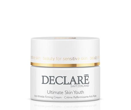 DECLARE Крем интенсивный для молодости кожи / Ultimate Skin Youth 50млКремы<br>Инновационное средство по уходу за зрелой кожей   крем Ultimate Skin Youth new Declare - содержит ценный экстракт риса, который интенсивно защищает клетки и продолжает их жизненный цикл. Регулярное использование крема Декларе для молодости кожи замедляет процесс старения. Средство прекрасно увлажняет, освежает кожу, придает ей упругость и тонус, разглаживает морщины. Частицы натурального шелка и отборные эфирные масла тщательно питают кожу, повышая ее защитную функцию.&amp;nbsp; Активные ингредиенты: Src-complex, структурин, эктоин, аллантоин, экстракт риса с омолаживающими свойствами, активный ингредиент sepilift dphp, гиалуроновая кислота, экстракт шелка, масло сасанквы, вспомогательные компоненты. Способ применения: наносить на чистую кожу лица и шеи утром и вечером.<br><br>Назначение: Морщины