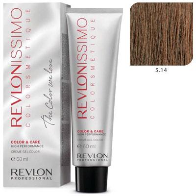 REVLON Professional 5.14 краска для волос, светло-коричневый пепельно-медный / RP REVLONISSIMO COLORSMETIQUE 60 мл revlon краситель перманентный 7 44 блондин гипер медный rp revlonissimo colorsmetique 60 мл