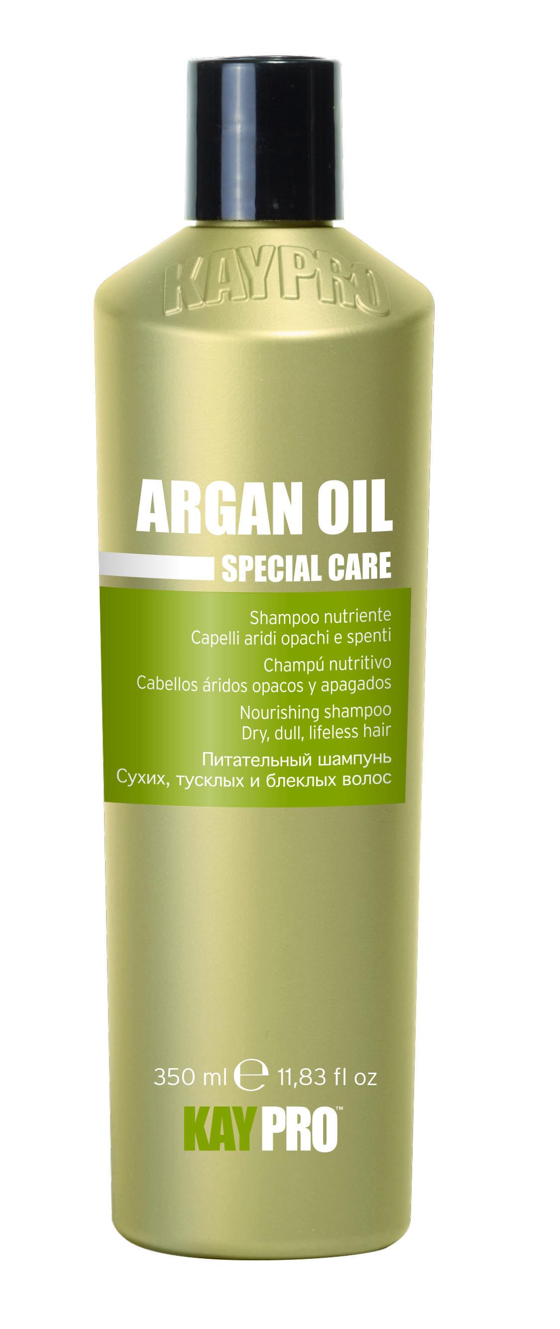 KAYPRO Шампунь питательный с аргановым маслом / KAYPRO 350млШампуни<br>ДЛЯ СУХИХ, ТУСКЛЫХ ВОЛОС. Деликатно очищает, делая волосы блестящими, легкими и шелковистыми. Оказывает защитное и антиоксидантное действие, особенно подходящее для чувствительных, окрашенных, тусклых и безжизненных волос. Активные ингредиенты: аргановое масло. Способ применения: нанести на мокрые волосы, помассировать, затем смыть водой.<br><br>Объем: 350 мл<br>Вид средства для волос: Питательный