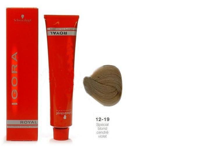 SCHWARZKOPF PROFESSIONAL 12-19 краска для волос / Игора Роял 60млКраски<br>IGORA Royal Colorist`s Color Creme - уникальный комплекс, состоящий из высокоэффективных микрочастиц, которые легко проникают внутрь волоса и отлично закрепляются по принципу магнита, формируя окончательный цветовой пигмент во время процесса окисления. Результат - отличное покрытие седины и интенсивный насыщенный цвет на длительное время. Ухаживающие протеины масла дерева Moringa Oleifera, содержащиеся в крем краске, укрепляют структуру волоса, защищают волосы от загрязнений окружающей среды и UV-излучения. Свежий косметический аромат, роскошная палитра нюансов, а также легкость в применении - все это позволяет достигать результатов самого высокого уровня.<br><br>Цвет: Блонд<br>Объем: 60<br>Класс косметики: Косметическая