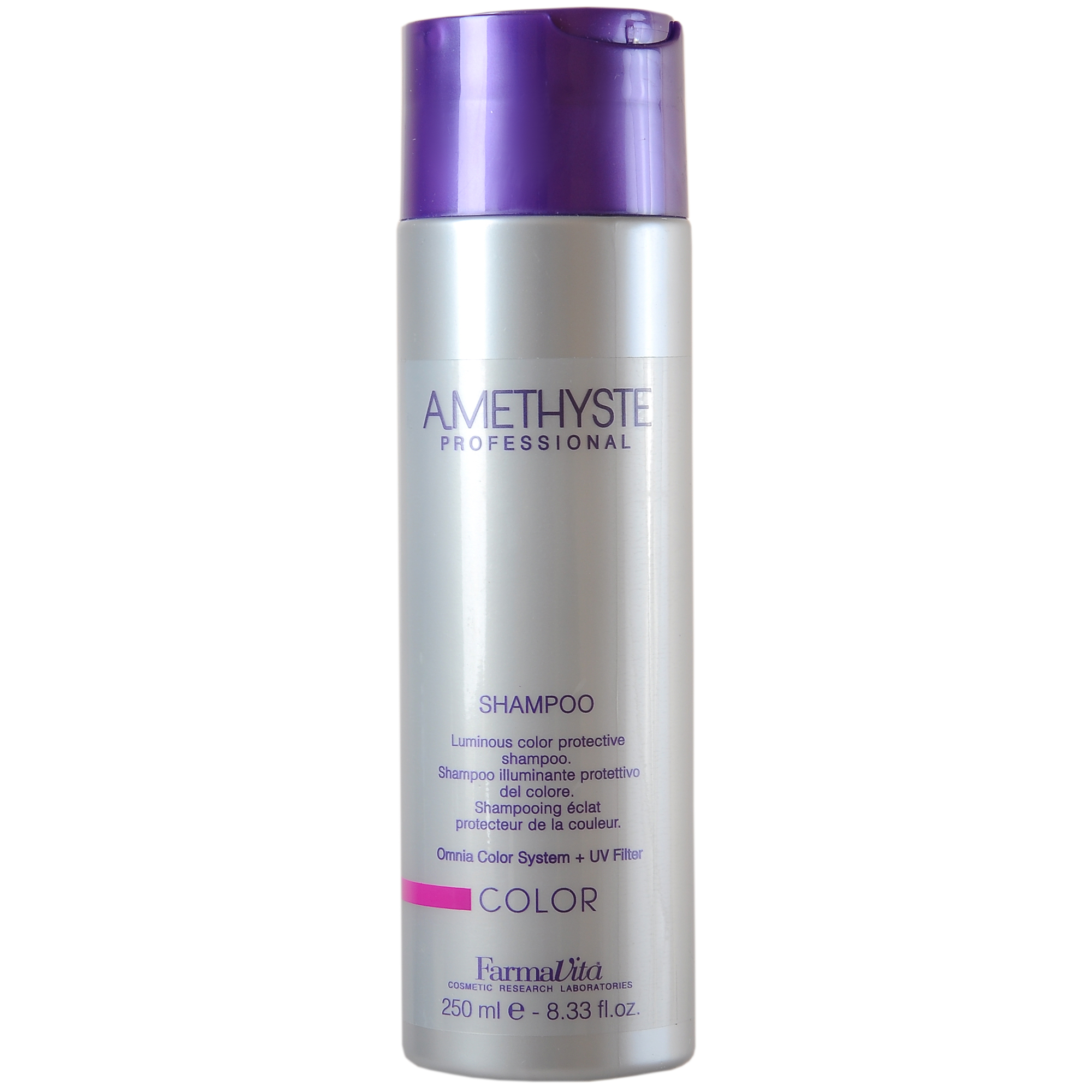 FARMAVITA Шампунь для окрашенных волос Amethyste color shampoo / AMETHYSTE PROFESSIONAL 250 млШампуни<br>Применение шампуня Amethyste Color увеличивает время сохранения цвета после окрашивания. Инновационная система Omnia Color заметно уменьшает вымывание косметического цвета, обеспечивает значительное увеличение прочности и увлажнения волос. Особая формула придает волосам силу и энергию, благодаря присутствию в составе олигоэлементов (кремний, магний, медь, железо, цинк), которые глубоко проникают в волокна волос, способствуя восстановлению поврежденных участков. Волосы становятся блестящими, сильными и здоровыми При использовании шампуня ощущается приятная нотка пудрового запаха, который создает ощущение чистоты и комфорта как во время, так и после использования продукта. Активные ингредиенты: система Omnia Color: Масло из семян пенника лугового - драгоценное масло богато природными антиоксидантами и уникальным составом жирных кислот. Помогает сохранить интенсивность цвета и придает блеск. Исследования показали, что масло проникает в волокна волос, восстанавливая структуру и повышая его прочность. Пантенол - глубоко проникает в структуру и позволяет сбалансировать естественный уровень влаги в волосах. УФ-фильтр - защищает волосы от выгорания на солнце, вымывания красителя и потускнения цвета. Олигоминеральный комплекс - комплекс олигоэлементов (кремний, магний, медь, железо, цинк), которые глубоко проникают в волокна волос и помогают восстановить поврежденные участки. Способ применения: нанести шампунь на увлажненные волосы и кожу головы. Вспенить, распределить аккуратными массажными движениями. Смыть. При необходимости процедуру повторить. После применения шампуня нанести на влажные, подсушенные полотенцем волосы маску Amethyste Color, равномерно распределить по длине. Выдержать несколько минут. Смыть. Приступить к укладке. Для достижения максимального эффекта используйте лосьон Amethyste Color Re-Vital.<br><br>Объем: 250 мл<br>Класс косметики: Косметическая<br>Н