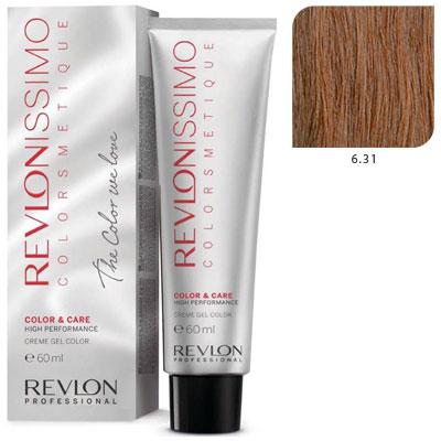 REVLON Professional 6.31 краска для волос, темный блондин холотисто- пепельный / RP REVLONISSIMO COLORSMETIQUE 60 мл revlon краситель перманентный 7 44 блондин гипер медный rp revlonissimo colorsmetique 60 мл
