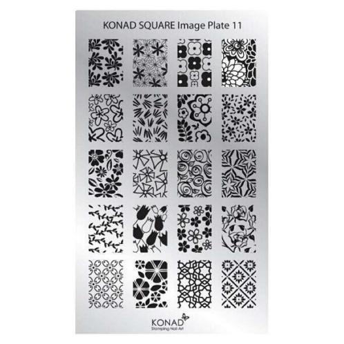 KONAD Пластина прямоугольная / Square Image Plate11 30грСтемпинг<br>Пластина для стемпинга Конад Square Plate 11 с великолепными узорами из разных цветов. Пластины для стемпинга также называют плитками. На них Вы найдете гораздо больше рисунков для ногтей, чем на обычных дисках.&amp;nbsp; Размер пластины: 135х80 мм Активные ингредиенты: сталь Способ применения: нанесите специальный лак&amp;nbsp;на рисунок, снимите излишки скрайпером, перенесите рисунок сначала на штампик, а затем на ноготь и Ваш дизайн готов! Не переставайте удивлять себя и близких красотой и оригинальностью своего маникюра!<br>