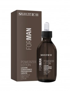 SELECTIVE PROFESSIONAL Лосьон профилактический против выпадения волос / Powerizer Lotion FOR MAN 125млВолосы<br>Лосьон тонизирует кожу головы, питает волосяную луковицу. Стимулирует активный рост волос, укрепляет волосяную луковицу, предотвращает выпадение волос. Активные ингредиенты: Растительные экстракты, воски натурального происхождения, пантенол, аминокислоты, УФ фильтр. Способ применения: Небольшое количество лосьона тщательно втереть в кожу головы, распределяя по всей поверхности. Не смывать.<br><br>Объем: 125<br>Пол: Мужской