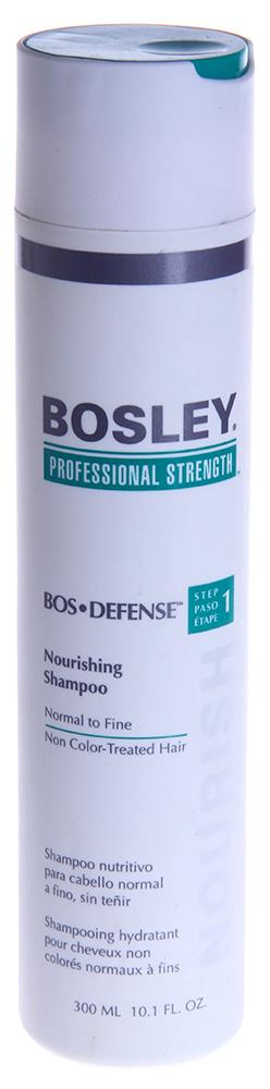 BOSLEY Шампунь питательный для нормальных/тонких неокрашенных волос / ВОS DEFENSE (step 1) 300млШампуни<br>Нежный, не содержащий сульфаты питательный шампунь, который помогает создать здоровую среду для волос и кожи головы. Действие: Очищает и выводит токсины, такие как ДГТ (основной причиной истончения и выпадения волос) с волос и кожи головы. Активные ингредиенты: LifeXtend&amp;trade; Комплекс. Экстракт Листьев Шалфея. Способ применения: Применять ежедневно. Нанести на влажные волосы, вспенить мягкими массирующими движениями, оставить на одну минуту и смыть.<br><br>Вид средства для волос: Питательный<br>Назначение: Выпадение