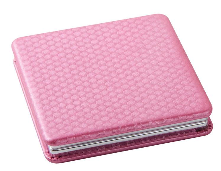 DEWAL BEAUTY Зеркало Палитра карманное, квадратное, розовое 6х6 см