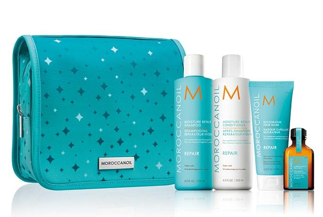 MOROCCANOIL Набор праздничный 2020 Восстановление в косметичке (шампунь 250 мл, кондиционер 250 мл, маска 75 мл, средство для всех типов волос 25 мл) REPAIR