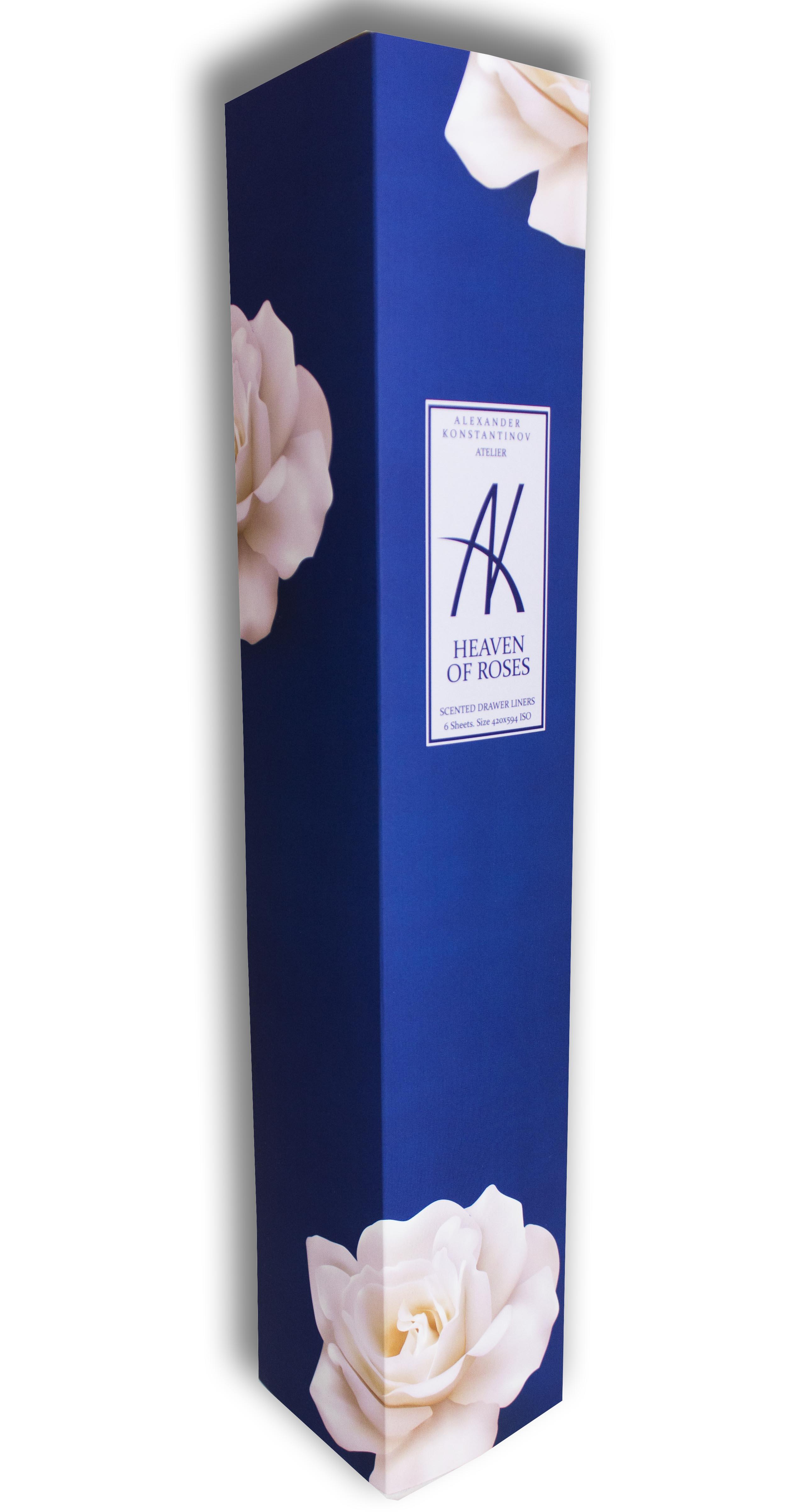 AK ATELIER Аромобумага для комодов (Небеса из Роз) / Heaven of rosesБумага<br>1. АК Ателье расположено в самом сердце Москвы на Рождественском бульваре. 2. Аромосостав для бумаги готовится исключительно из качественных, гипоаллергенных ингредиентов. 3. Бумага обработана аромосоставом вручную, по специальной технологии. 4. Аромобумага обладает легким ненавязчивым ароматом, за счет гигроскопичности регулирует влажность, что создаёт особый микроклимат в Комоде (бельевом шкафу). 5. Бумага запаяна в полиэтиленовый рукав по 6 принтов форматом А2, в комплекте проволочный замок для сохранения аромата в оставшихся листах, не уложенных в ящик. Heaven of roses. Небеса из Роз. Верхние ноты: нероли, фрезия и лист фиалки. Ноты середина: роза, апельсин, жасмин и пион. Базовые аккорды: сандаловое дерево, ваниль, амбра и мускус. Способ применения: перед укладкой, лист можно обрезать или подвернуть под размер ящика. Необходимо дать бумаге  подышать  2-3 минуты.<br>