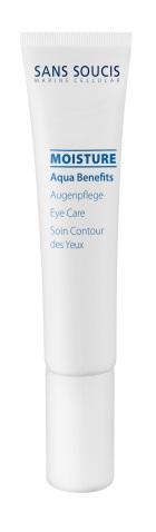 SANS SOUCIS Крем увлажняющий для глаз  Aqua Benefits  / Eye Care 15млКремы<br>Легкая, тающая текстура крема для контура глаз, обогащен маслом семян пассифлоры, глубоко и интенсивно увлажняет кожу, делая ее более гладкой. Протеины кунжута восполняют дефицит влаги, повышает тонус кожи Экстракт из водорослей Codium tomentosum активно регулирует водный баланс, обеспечивает мощное и длительное увлажнение и насыщает кожу микроэлементами, аминокислотами, витаминами, обладает успокаивающим и увлажняющим действием. Возможно использование как основа под макияж. Результат: кожа гладкая и сияющая. Активные ингредиенты: термальная вода,сквалан, масло семян пассифлоры инкарнатной, гидролизат склероция смолы, экстракт кодиум томентосум (водоросли), биосахаридная смола-1, протеины кунжута, ксантановая камедь Способ применения: утром и вечером нанести на предварительно очищенную кожу контура глаз<br><br>Объем: 15 мл<br>Типы кожи: Сухая и обезвоженная