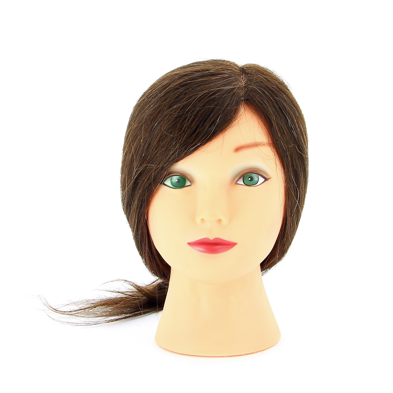 DEWAL PROFESSIONAL Голова учебная шатенка, натуральные волосы 30-40см манекен голова для причесок оптом