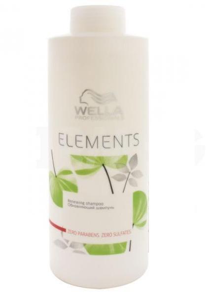 WELLA Шампунь обновляющий / ELEMENTS 1000млШампуни<br>Обновляющий шампунь Elements. Продукт не содержит сульфатов, парабенов и искусственных красителей. Шампунь очищает волосы, восстанавливает естественную влагу. Содержит древесный экстракт, который защищает кератин в структуре волоса. Подходит для всех типов волос, особенно для поврежденных. Активные ингредиенты: натуральный древесный экстракт. Способ применения: нанести достаточное количество на волосы мягкими массажными движениями, вспенить. Тщательно смыть.<br>