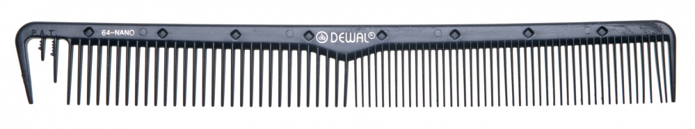 Dewal professional расческа рабочая nano комбинированная, с разделительным зубцом, антистатик (черная) 22 см