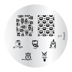 KONAD Форма печатная (диск с рисунками) / image plate S17 10грСтемпинг<br>Диск для стемпинга Конад М17 с восклицательным знаком и буквами латинского алфавита с A до N. Активные ингредиенты: сталь. Способ применения: нанесите специальный лак&amp;nbsp;на рисунок, снимите излишки скрайпером, перенесите рисунок сначала на штампик, а затем на ноготь и Ваш дизайн готов! Не переставайте удивлять себя и близких красотой и оригинальностью своего маникюра!<br>