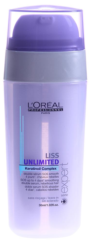 LOREAL PROFESSIONNEL Сыворотка-SOS для непослушных волос / ЛИСС АНЛИМИТЕД 30млСыворотки<br>Сыворотка мягко заботится о волосах, обволакивая их невидимой пленкой и укрепляя. Она не позволяет волосам пушиться, имеет легкую текстуру и совершенно не утяжеляет волосы. Активные ингредиенты: технология Incell, насыщенные оливковое и аргановое масла.Способ применения: нанесите сыворотку на подсушенные полотенцем волосы. Распределите с помощью расчески по волосам. Для тонких волос достаточно 1-2 нажатия, на толстых   3-4. Рекомендуется использовать вместе с шампунем и маской серии Liss Unlimited.<br><br>Типы волос: Тонкие