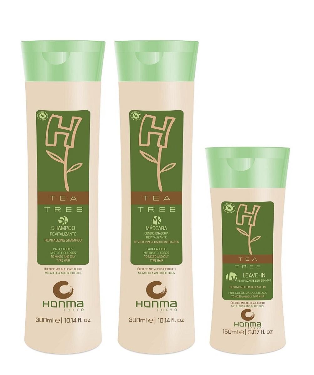 HONMA TOKYO Набор для волос с экстрактом чайного дерева (шампунь 300 мл, маска 300 мл, несмываемый кондиционер 150 мл) H-Tea Tree