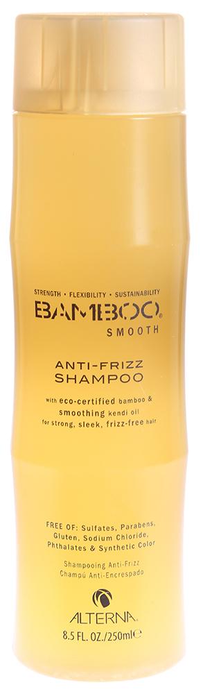 ALTERNA Шампунь полирующий / BAMBOO SMOOTH 250млШампуни<br>Разглаживающий шампунь без сульфатов. Бережно очищает волосы. Органическое масло Kendi Oil и экстракт бамбука, входящие в состав шампуня помогут оптимально увлажнить и укрепить волосы, делая их гладкими, сильными и шелковистыми. Технология Color Hold позволит окрашенным волосам дольше сохранять цвет, не вымывая его. Активные ингредиенты: масло Кенди, экстракт бамбука. Способ применения: возьмите небольшое количество шампуня в ладони и вспените. Нанесите на мокрые волосы и помассируйте не менее 30 секунд. Смойте теплой водой. При необходимости повторите процедуру.<br><br>Вид средства для волос: Разглаживающий<br>Типы волос: Окрашенные