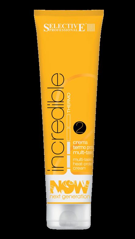 SELECTIVE PROFESSIONAL Крем термозащитный для укладки / Now Incrediible NOW NEXT GENERATION 150млКремы<br>Многофункциональное средство для укладки, с помощью которого можно выполнить две различных услуги - как разгладить волосы, так и создать локоны. Крем защищает волосы от жара, производимого инструментами для укладки, упрощает использование щипцов для завивки и утюжков, предотвращает спутывание волос, устраняет эффект пушащихся волос, делает волосы более эластичными, увлажняет волосы, не утяжеляя их, упрощает процесс укладки: волосы становятся более послушными, волосы густые и сияющие, защищает от вредного воздействия UV-лучей. Термокомплекс - комплекс эластомеров и силиконовых смол, которые покрывают поверхность волоса и защищают его от жара, производимого феном, утюжком или выпрямителем. Протеины пшеницы - оказывают защитное и восстанавливающее действие, делают волосы более мягкими и плотными, а также упрощают процесс сушки. Протеины шелка - создают тонкую невидимую пленку на поверхности волоса, увлажняют и защищают. Волосы становятся мягкими и шелковистыми. Солнечный фильтр с UVA-UVB-UVC защитой - защищает волосы от вредного воздействия UV-лучей. Успокаивающий комплекс - комплекс специальных успокаивающих средств, благодаря которым волосы становятся гладкими, мягкими и эластичными. Степень фиксации - 2. Активные ингредиенты: термокомплекс, протеины пшеницы, протеины шелка, солнечный фильтр с UVA-UVB-UVC защитой, успокаивающий комплекс. Способ применения: может наноситься как на сухие, так и на влажные волосы.<br>