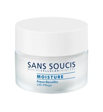SANS SOUCIS Крем увлажняющий для 24 часового ухода  Aqua Benefits  / 24-h Care 50млКремы<br>Нежная, мягкая кожа и ощущение абсолютного комфорта мгновенно и на весь день. Интенсивно питает кожу, сокращает ощущение стянутости кожи и дискомфорта.. Результат: кожа преображается, вновь обретая красоту и ощущение абсолютного комфорта надолго. Активные ингредиенты: термальная вода, масло семян пассифлоры инкарнатной, гидролизат склероция смолы, экстракт кодиум томентосум (водоросли), биосахаридная смола-1. Способ применения: утром и/или вечером нанести на предварительно очищенную кожу<br><br>Объем: 50 мл<br>Вид средства для лица: Увлажняющий<br>Типы кожи: Сухая и обезвоженная