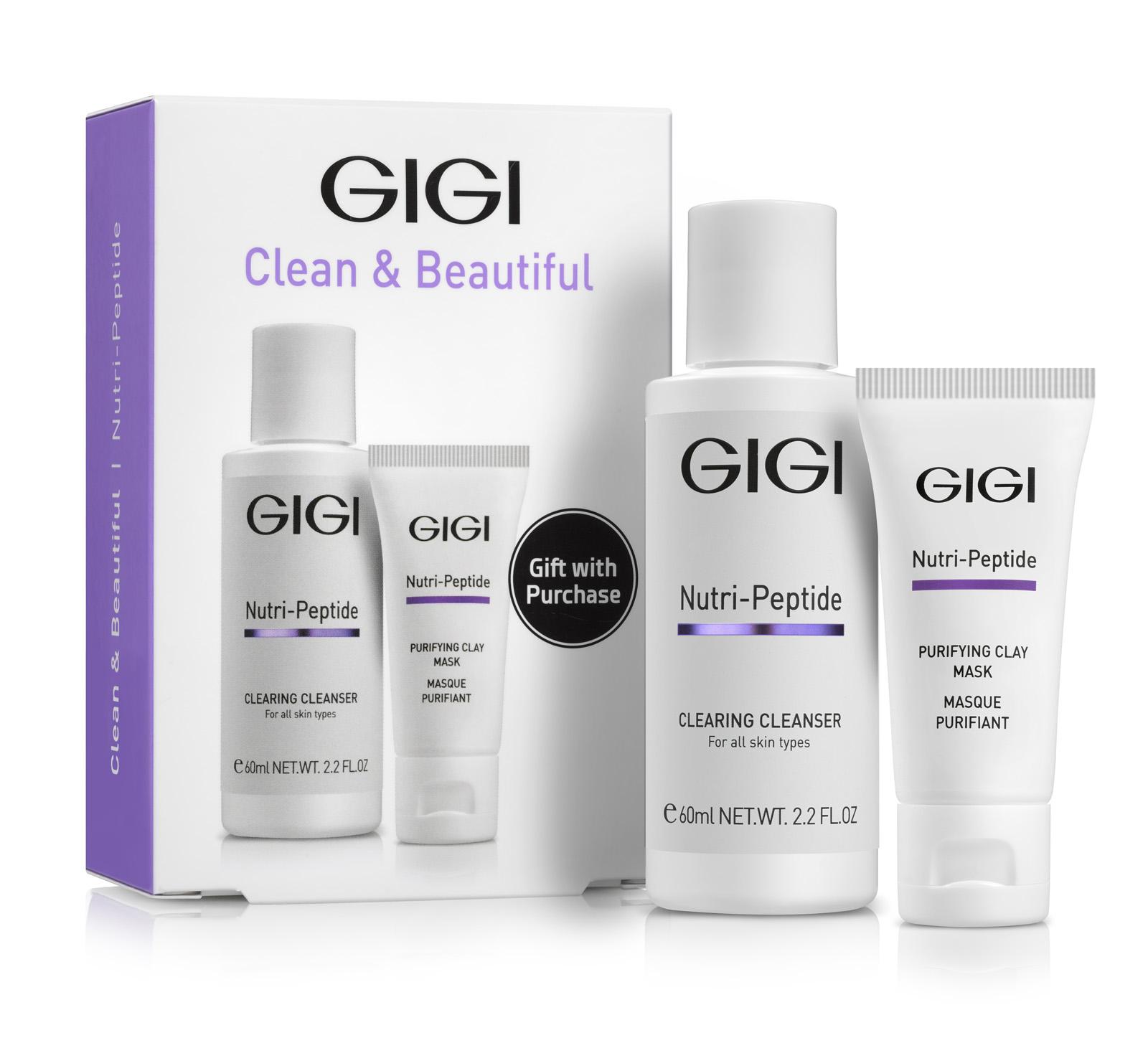 GIGI Набор подарочный Очищение (гель 60 мл, маска 15 мл) NUTRI-PEPTIDE Clean&Beautiful фото