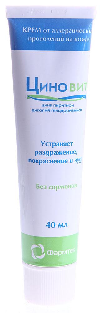 ФАРМТЕК Крем Циновит 40млКремы<br>ЦИНОВИТ   крем от раздражения, покраснения, шелушения и зуда. Без гормонов избавит от симптомов воспаления на коже. Обладает антисептическим эффектом. Только натуральные растительные масла в основе крема. Показан к применению при состояниях кожи, которые сопровождаются раздражением, покраснением, шелушением, зудом (дерматиты, аллергические проявления, поверхностные солнечные и термические ожоги, укусы насекомых). В составе ЦИНОВИТ крема содержится комплекс активных компонентов, который справляется с раздражением, покраснением, воспалением и зудом. Цинк пиритион оказывает противовоспалительное, противогрибковое и антибактериальное действие. Дикалий глицирризинат является активным компонентом, полученным из лекарственного растения солодка. Он обладает выраженной противовоспалительной активностью и делает кожу менее восприимчивой к веществам, вызывающим аллергию, раздражение и зуд. Натуральные масла (оливковое, жожоба, ши) полностью усваиваются кожей, успокаивают ее, питают и смягчают. Основа ЦИНОВИТ крема полностью состоит из натуральных растительных масел и не содержит минеральных масел и ланолина. Активные ингредиенты: цинк пиритион 1%, дикалий глицирризинат 1%, натуральные масла оливковое, жожоба, ши. Способ применения: наносите крем тонким равномерным слоем на проблемные участки кожи тела и лица утром и на ночь. Для устранения симптомов воспаления при дерматитах (атопический дерматит, экзема и др.) необходимо применять крем не менее 2 недель. Длительность применения не ограничена.<br><br>Объем: 40<br>Типы кожи: Чувствительная