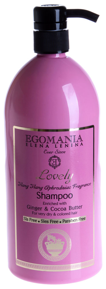 EGOMANIA Шампунь с имбирем и маслом какао для пересушенных и окрашенных волос / LOVELY 1000млШампуни<br>Шампунь с Имбирем и маслом Какао предназначен для очищения пересушенных и окрашенных волос. Питает, увлажняет волосы, не раздражает кожу головы, придает волосам мягкость. В результате эластичные, мягкие волосы, с естественным блеском. Активные ингредиенты: Иланг-иланг, масло какао, экстракт имбиря, граната, сок алое-вера, грязи Мертвого моря. Способ применения: Шампунь наносят на влажные волосы, вспенивают и смывают теплой водой.<br>