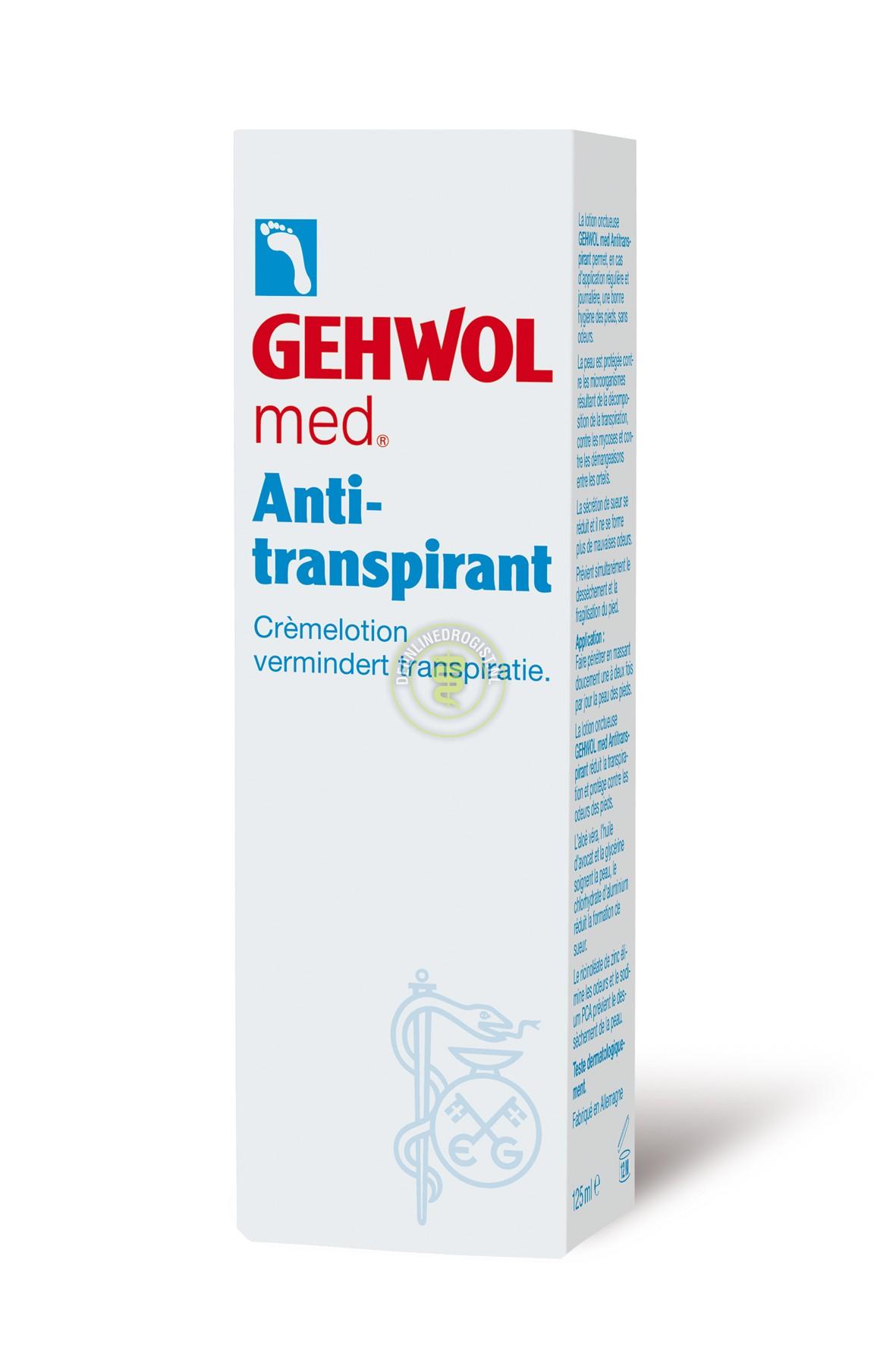 GEHWOL Крем-лосьон антиперспирант 125млДезодоранты<br>Крем настолько эффективен, что его двух разового применения достаточно для достижения заметного результата. В случае особенно интенсивного потоотделения желательно наносить крем ежедневно. Активные ингредиенты:&amp;nbsp;вода гидроксихлорид алюминия, плое вера, изопропилпальмитат, глицерилстеарат, ПЭГ-100 стеарат, октилдодеканол, глицерин, масло авокадо, циклометикон, глицерилстеарат, цетиловый спирт, цинка рицинолеат, натрия РСА, гидроксипропилметилцеллюлоза, отдушка, пропиленгликоль, климбазол, триклазан, этилпарабен, имидозалилмочевина, тетрагидроксипропил этилендиамин и др. Способ применения: ежедневно утром и/или вечером наносите на чистую и сухую кожу стоп тонким слоем.<br><br>Тип: Крем-лосьон<br>Объем: 125