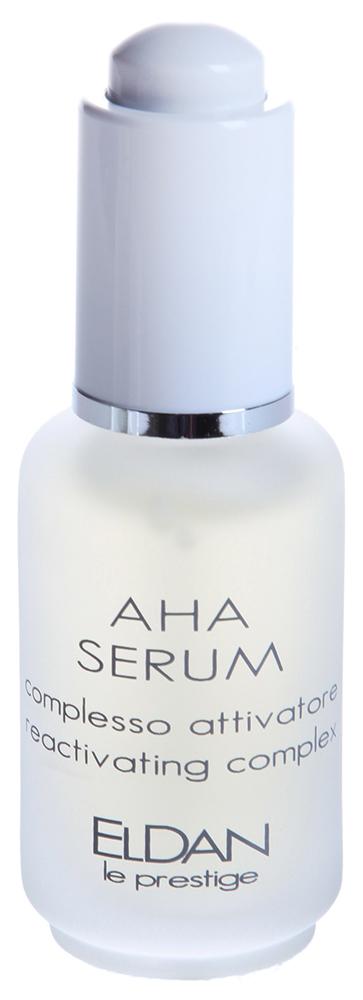 ELDAN Сыворотка AHA 12% / LE PRESTIGE 30млСыворотки<br>Тип кожи: пигментированная, для всех типов кожи Действие: Борется с гиперкератозом, преждевременным старением кожи, морщинами. Предупреждает появление акне и черных угрей. Сыворотка в большей мере, чем крем, содержит АНА кислоты (12%), которые, активируя процессы регенерации, мягко избавляют кожу от ороговевших клеток и пигментных пятен. Сыворотка прекрасно увлажняет кожу, повышает её тонус и эластичность. Активные ингредиенты: Гликолевая кислота, экстракт шалфея, огуречный экстракт, экстракт винограда, экстракт ананаса, экстракт пассифлоры инкарнаты. Способ применения: Наносить сыворотку легкими массажными движениями на лицо и шею после очищения и тонизации. Рекомендуется использовать в сочетании с кремом или маской. Предупреждение: при использовании возможно появление катышков - это происходит отшелушивание эпидермических клеток с поверхностным загрязнением. Используется в процедурах: Уход anti age после 40 лет Антиоксидантный уход Коррекция мимических морщин с применением аргирелина Уход летние миндальные пилинги Уход за проблемной кожей Уход за проблемной кожей с применением альгинатной маски Уход за кожей с угревой сыпью с применением миндальных пилингов Осветление кожи и профилактика пигментных пятен Уход за кожей с жирной себореей с применением ультразвукового скрабера Уход молодильные яблоки<br>