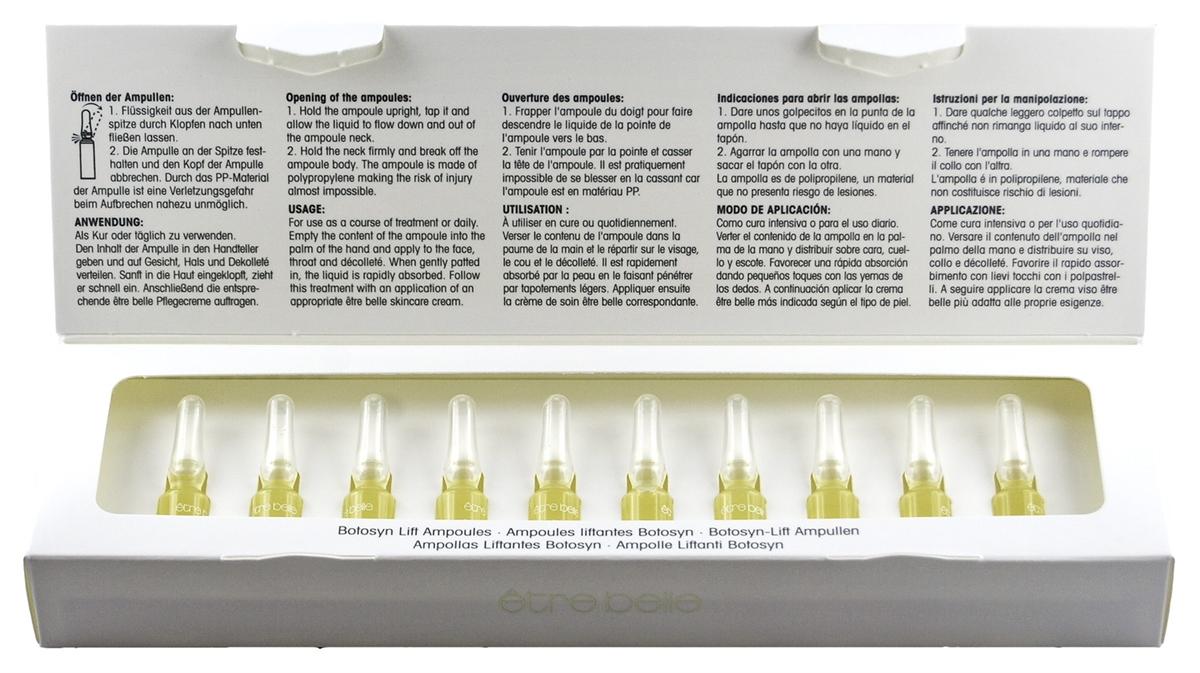 ETRE BELLE Ампулы Ботосин Лифтинг (Botosyn Lift Ampoules) 10*1.5млАмпулы<br>Ампулы Ботулотоксина с эффектом лифтинга. Обеспечивают эффективное разглаживание морщин высококонцентрированным лифтинговым коктейлем из препарата Syn-Ake , аргирелина и цитопротекторного коэнзима Q10 за счет стойкого расслабления лицевых мышц. Активные ингредиенты: Syn-Ake  (синтетический яд храмовой гадюки), син-колл (Syn-Coll), аргирелин, гиалуроновая кислота, гидровитон 24, аллантоин, Q10, пантенол. Не содержат парабенов.<br><br>Вид средства для лица: Синтетический<br>Назначение: Морщины
