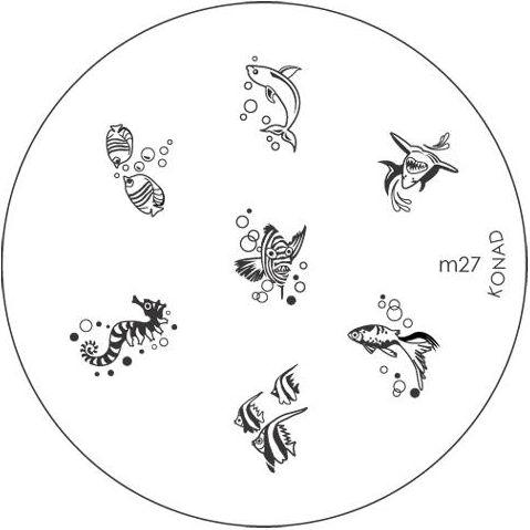 KONAD Форма печатная (диск с рисунками) / image plate M27 10грСтемпинг<br>Диск для стемпинга Конад М27 с золотой рыбкой, морским коньком, зубастой акулой, дельфином и другими обитателями морской гавани. Несколько видов изображений, с помощью которых вы сможете создать великолепные рисунки на ногтях, которые очень сложно создать вручную. Активные ингредиенты: сталь. Способ применения: нанесите специальный лак&amp;nbsp;на рисунок, снимите излишки скрайпером, перенесите рисунок сначала на штампик, а затем на ноготь и Ваш дизайн готов! Не переставайте удивлять себя и близких красотой и оригинальностью своего маникюра!<br>
