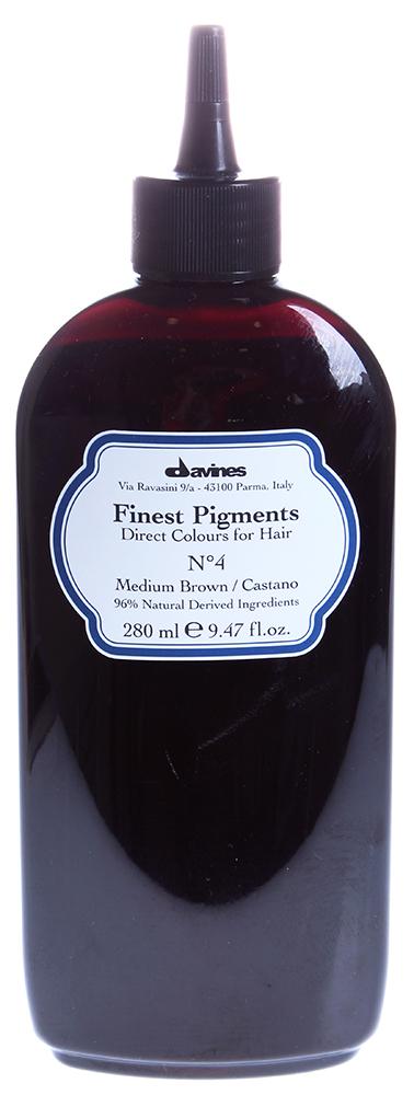 DAVINES SPA Краска для волос Прямой пигмент  4 Medium Brown-Средне-коричневый / FINEST PIGMENTS 280млКраски<br>Davines Finest Pigments &amp;mdash; это гибкая система окрашивания, которая позволяет применять все оттенки в чистом виде или смешивать их между собой. Природный состав этой краски позволяет использовать его сразу после химической завивки или после обработки смягчающими средствами. Davines Finest Pigments заполняет собой неровности и шероховатости волоса, особенно выраженные у травмированных, секущихся и пересушенных волос, за счет чего они становятся гладкими, эластичными и блестящими. Тоненькая пленка, обволакивающая каждый волос, запирает пигменты, проникшие из Davines Finest Pigments в волос, не давая им вымываться, надолго сохраняя цвет, делая волосы защищенными, придавая волосам дополнительную толщину а, значит, густоту. Результат тонирования Davines Finest Pigments сохраняется 2-3 недели. Цвет: Medium brown-средне-коричневый. Применение: Действие Davines Finest Pigments очень похоже на известную всем процедуру ламинирования. Только сама процедура тонирования гораздо проще. Краситель необходимо наносить на чистые сухие волосы. Время воздействия зависит от структуры и качества волос и составляет 5-20 минут. По окончании этого времени волосы следует намочить и аккуратно смыть краситель. Вот, собственно, и все. Результат же превзойдет ожидания. Волосы не только приобретут новый модный оттенок. Они станут гораздо здоровее   вы это увидите и почувствуете.<br><br>Объем: 280