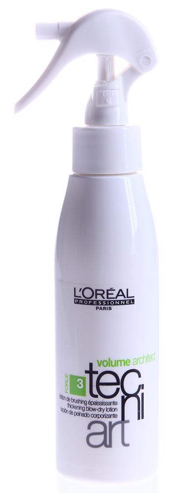 LOREAL PROFESSIONNEL Лосьон утолщающий для брашинга (3) Волюм Архитектор / VOLUME tecni.art 125млЛосьоны<br>Средство проникает в структуру каждого волоса, и идеально подходит для создания эффекта утолщения. Придает волосам гибкость и эластичность. Утолщающий лосьон предназначен для брашинга тонких и ослабленных волос. Он идеально восстанавливает структуру волоса изнутри. Средство для укрепления тонких волос надежно оберегает их от термического воздействия при сушке феном, придает безупречную мягкость и гибкость. Прическа выглядит естественной и безупречной, волосы легко укладываются, становятся послушными и податливыми, легко расчесываются. Тонкие волосы приобретут объем и визуально станут намного гуще. Активный состав: Основа, полимеры, увлажняющая система, смягчающие и питающие компоненты, анионные компоненты, силикон, защитный комплекс. Микротехнология Air Pump. Применение: Нанести на вымытые влажные волосы. Равномерно распределить сначала на корни, затем по всей длине волос. Не смывать. Высушить волосы естественным путём или феном.<br><br>Объем: 125
