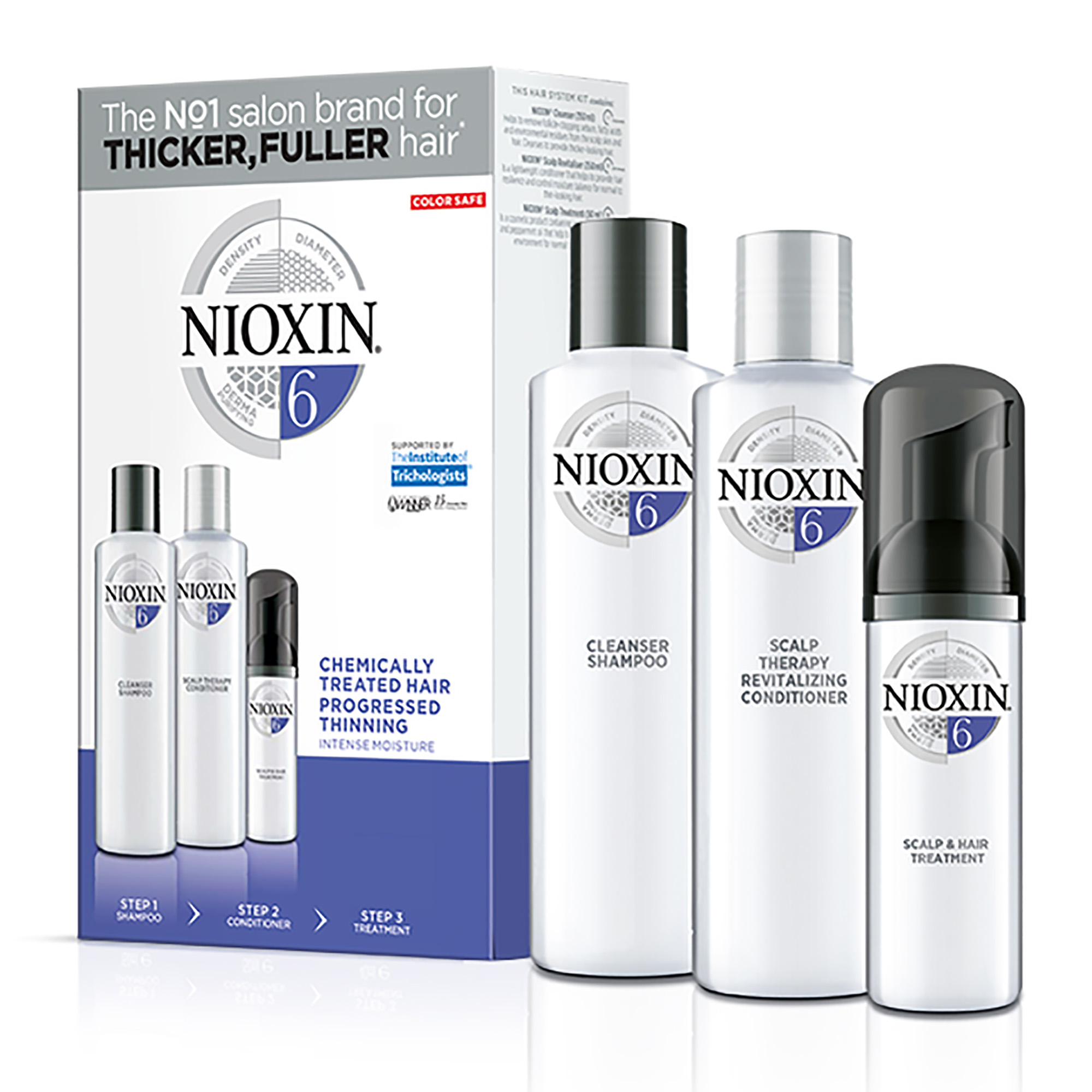 NIOXIN Набор для ухода за жесткими натуральными и окрашенными, заметно редеющими волосами Система 6