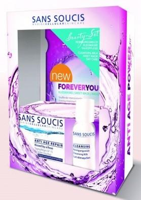 SANS SOUCIS Набор Антивозрастной (крем восстанавливающий дневной 50 мл + молочко очищающее 50 мл + маска листовая)