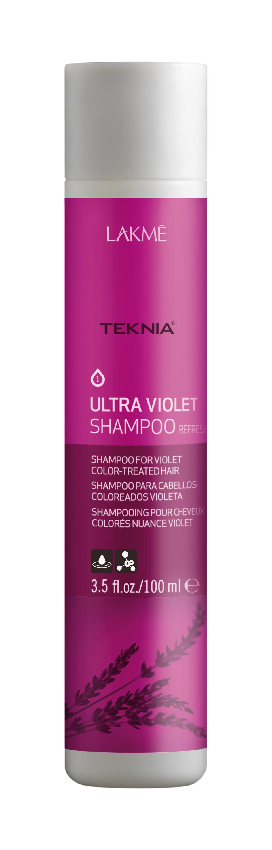 Купить LAKME Шампунь для поддержания оттенка окрашенных волос, фиолетовый / ULTRA VIOLET SHAMPOO 100 мл, Красный и фиолетовый