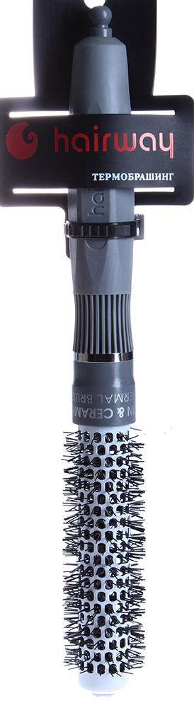 HAIRWAY Термобрашинг ION с керамикоионным покрытием 20ммТермобрашинги<br>Термобрашинг с керамико-ионным покрытием втулки и нейлоновой щетиной. Облегченный материал, изготовленный по новейшим технологиям. Многогранная ручка позволяет надежно удерживать термобрашинг во время работы. Овальные отверстия - для интенсивного прохождения потока горячего воздуха. Разделитель прядей. Антистатик.<br>