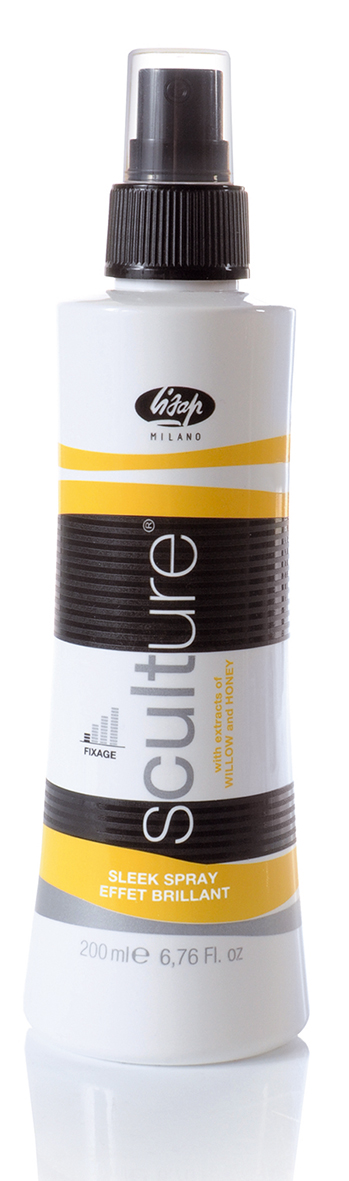 LISAP MILANO Спрей-блеск эластичной фиксации для волос / Sleek Spray SCULTURE 250млСпреи<br>Средство, придающее волосам мгновенный и продолжительный блеск. Гарантирует максимальную защиту, блеск и эластичность прическе, акцентирует цвет волос. Способ применения: равномерно распылить на сухие волосы.<br><br>Тип: Спрей-блеск