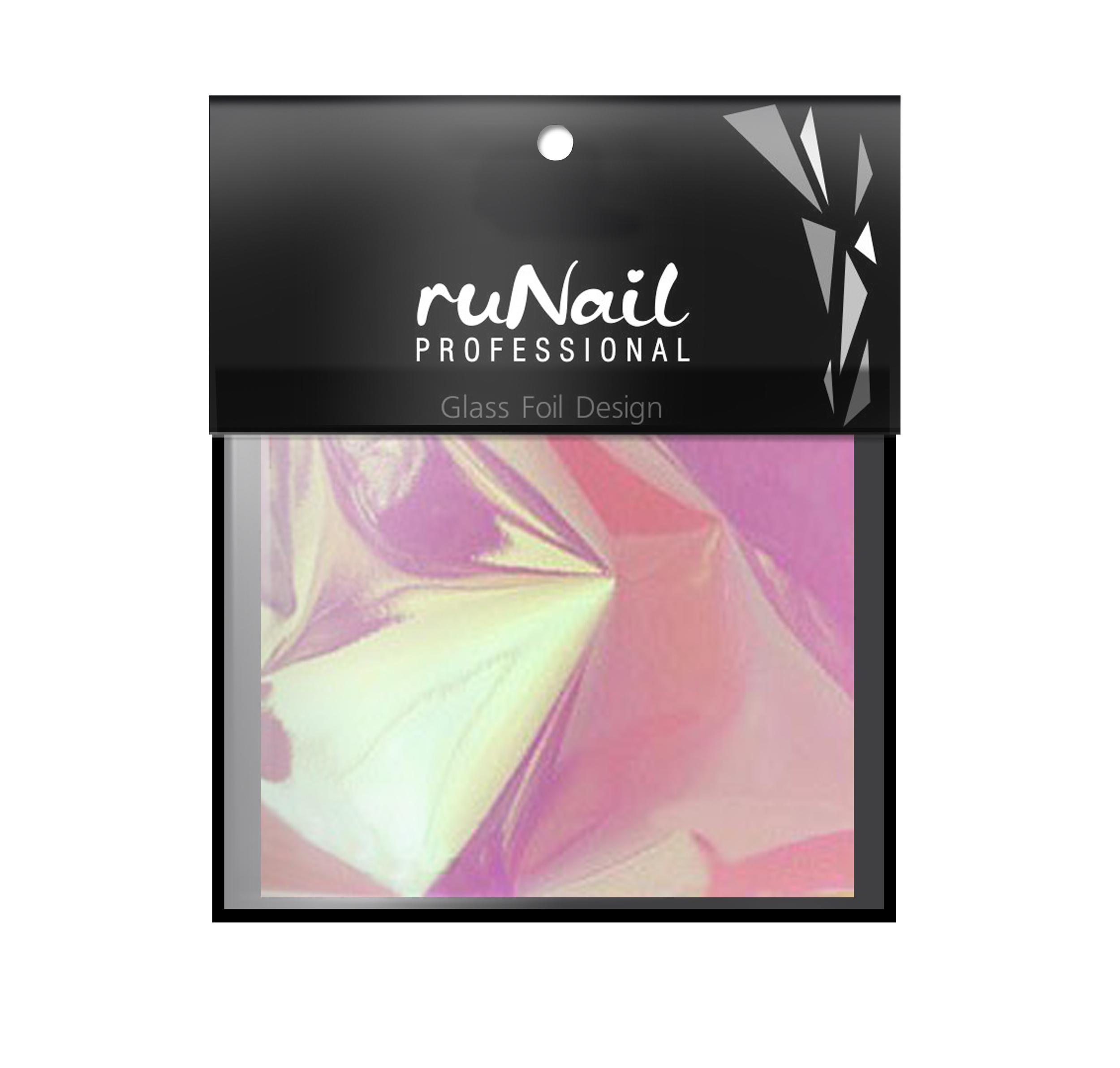 RuNail Дизайн для ногтей: фольга с эффектом Битое стекло(цвет розовый), 4х100см