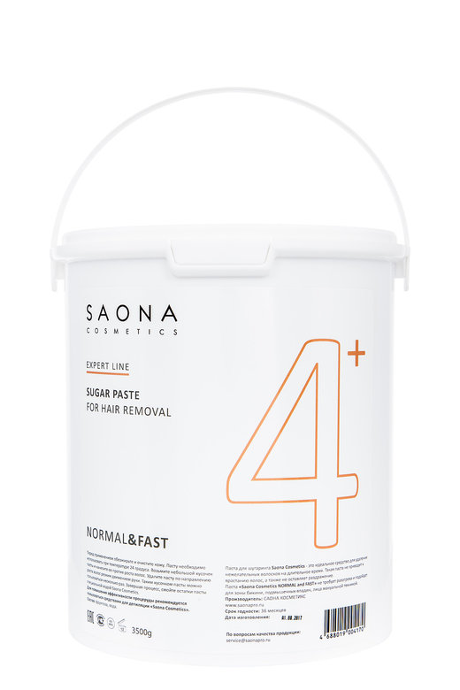 SAONA COSMETICS Паста сахарная нормальная для шугаринга № 4+, без разогрева / NORMAL&FAST Expert Line 3500 г