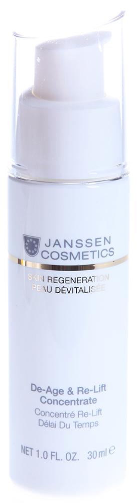 JANSSEN Концентрат экстралифтинг Anti-Age / De-Age &amp; Re-Lift Concentrate SKIN REGENERATION 30млКонцентраты<br>Высокоэффективный anti-age концентрат, содержащий изофлавоны, с легкой текстурой геля и активным действием крема. Активизирует синтез волокон коллагена и эластина и защищает структуру дермы. Препятствует возрастной атрофии, повышает эластичность, упругость, плотность кожи, регулирует ее гидробаланс. Обеспечивает видимый лифтинг-эффект, придает коже сияние и свежесть. Активные ингредиенты: гиалуроновая кислота, изофлавоноиды ириса, комбуча (ферментированный черный чай), структурин (гидролизат белков люпина), масло макадамии, витамины С и Е. Способ применения: наносите De-Age &amp;amp; Re-Lift Concentrate на очищенную кожу лица и области декольте утром и/или вечером. Затем нанесите подходящий крем. В салоне использовать как активное омолаживающее средство перед нанесением масок или массажем.<br><br>Объем: 30