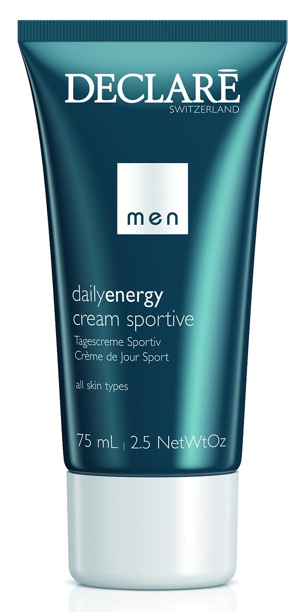 DECLARE Крем легкий / Daily Energy Cream Sportive / MEN CARE 75млЛицо<br>Новый легкий крем Daily Energy Cream Sportive с алоэ вера и бета-каротином интенсивно увлажняет и защищает от UVA и UVB излучения и преждевременного старения кожи. Уникальный SRC-complexTM, разработанный специально для чувствительной кожи, повышает эластичность, уменьшает раздражение и дарит ощущение комфорта. Средство придает коже здоровый, свежий и спортивный вид на весь день. Активные ингредиенты: алоэ вера, бета-каротин SRC-complex . Способ применения: небольшое количество крема нанести на кожу лица и шеи после очищения или бритья<br><br>Вид средства для лица: Легкий<br>Пол: Мужской<br>Возраст применения: После 25<br>Типы кожи: Чувствительная