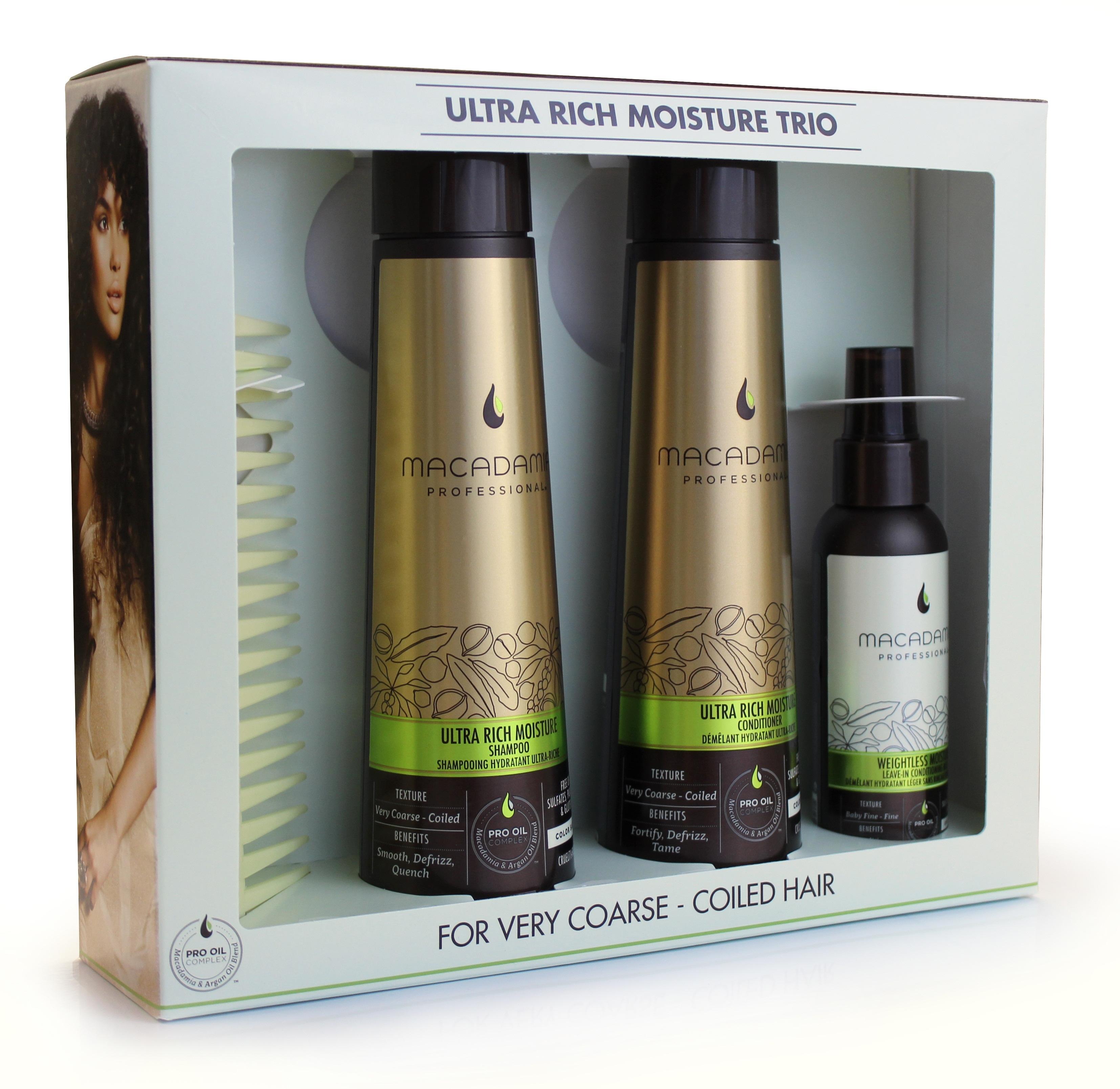 MACADAMIA PROFESSIONAL Набор для жестких волос (шампунь увлажняющий 300мл + кондиционер увлажняющий 300мл + спрей кондиционер 100мл + гребень)