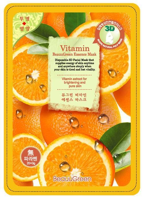 BEAUUGREEN Маска Витаминный заряд / 3D 23грМаски<br>Маска для лица на основе биоцеллюлозы с витаминным комплексом. Оказывает мощное антиоксидантное и тонизирующее действие. Восстанавливает стрессированную кожу, насыщает витаминами и микроэлементами. Подходит для кожи любого возраста. Активные ингредиенты: витаминный комплекс, натуральный сок алоэ. Способ применения: извлечь маску из саше, равномерно распределить на лице, выдержать экспозицию 20минут. Основу маски снять, остаткам концентрата дать впитаться, при необходимости нанести крем.<br><br>Вид средства для лица: Тонизирующий