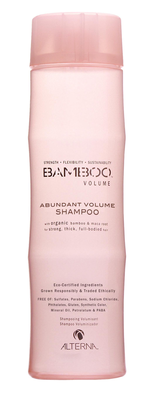 ALTERNA Шампунь для объема / BAMBOO VOLUME 250млШампуни<br>Мягкий бессульфатный шампунь для деликатного очищения тонких, хрупких, уставших волос. Придает волосам жизненную силу, естественный объем и здоровое сияние. Благодаря входящим в состав гидролизированным протеинам риса, сои, семян хлопка восстанавливает, укрепляет и уплотняет структуру волос. А экстракты серенои, васаби и семян гуараны повышают жизненный тонус волос и улучшают питание волосяных фолликул. Ароматическая композиция наполнена пьянящими и пленительными оттенками молодой листвы бамбука и белого мускуса с отчетливыми древесно-земельными аккордами. Активные ингредиенты: экстракт натурального органического бамбука, экстракт клубней органической перуанской маки, ароматическая композиция. Способ применения: нанесите Шампунь для объема на влажные волосы, вспеньте. Выдержите пену на волосах 3 5 минут. Тщательно смойте водой, при необходимости повторите. Для наилучшего результата используйте Кондиционер для объема.<br><br>Класс косметики: Натуральная