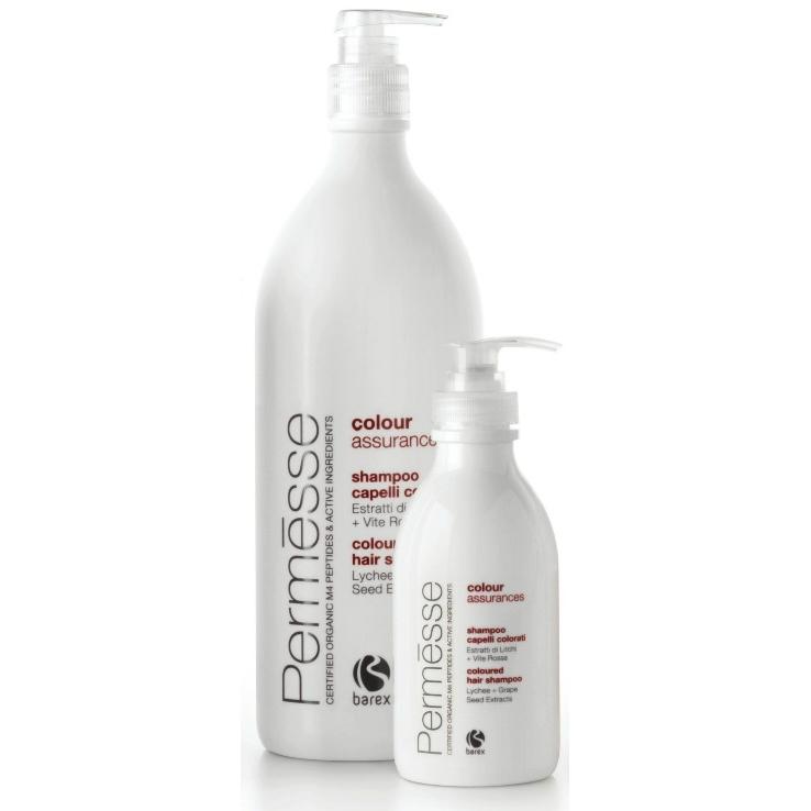 BAREX Шампунь для окрашенных волос с экстрактом личи и красного винограда / PERMESSE 1000млШампуни<br>Шампунь с экстрактом личи и красного винограда рекомендуется для ухода за волосами после процедуры окрашивания и для использования в домашних условиях. Обладает деликатными моющими характеристиками, придает волосам мягкость и эластичность. &amp;laquo;Запечатывает&amp;raquo; красящие пигменты внутри волоса, тем самым сохраняет насыщенность и долговечность цвета, придает волосам дополнительный блеск. Содержит сертифицированные органические пептиды, экстракт личи, экстракт красного винограда. Активные ингредиенты: Сертифицированные органические пептиды, экстракт личи, экстракт красного винограда. Способ применения: Аккуратными массирующими движениями нанесите шампунь на влажные волосы. Смойте теплой водой. Повторите процедуру при необходимости.<br><br>Объем: 1000<br>Типы волос: Окрашенные<br>Назначение: после окрашивания