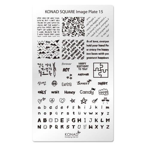 KONAD Пластина прямоугольная / Square Image Plate15 30грСтемпинг<br>Пластина для стемпинга Конад Square Plate 15 со словами, фразами и буквами, написанными разными шрифтами. Пластины для стемпинга также называют плитками. На них Вы найдете гораздо больше рисунков для ногтей, чем на обычных дисках. Размер каждого принта 23 х19 мм и поэтому вы можете наносить рисунок не только как он расположен на пластине, но и по диагонали, отлично подойдет как для коротких, так для длинных и широких ногтей и для педикюра Активные ингредиенты: сталь Способ применения: нанесите специальный лак&amp;nbsp;на рисунок, снимите излишки скрайпером, перенесите рисунок сначала на штампик, а затем на ноготь и Ваш дизайн готов! Не переставайте удивлять себя и близких красотой и оригинальностью своего маникюра!<br>